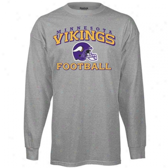 Minnesota Vikings Tees : Reebok Minnesota Vikings Ash Stacked Helmet Long Sleeve Tees