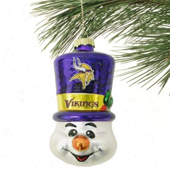 Minnesota Vikings Top Cardinal's office Snowman Blown Glass Ornameng