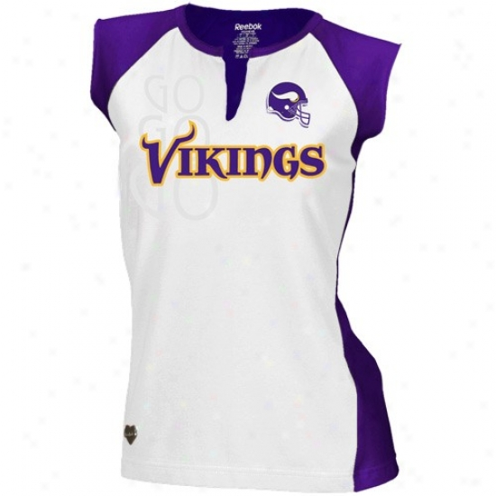 Minnesota Vikings Tshirt : Reebok Minnesota Vikings Ladies Purple-white Two-toned Split Neck Tshirt