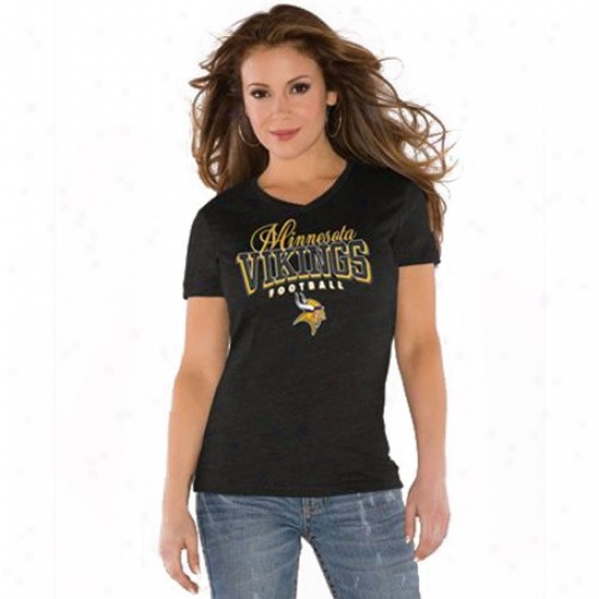 Minnesota Vikings Tshirts : Touch By Alyssa Milano Minnesota Vioings Black V-neck Heathered Tri-blend Tshirts