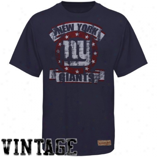 N Y Monster Apparel: Mitchell & Ness N  YGiant Navy Blue Vintage Premium T-shirt