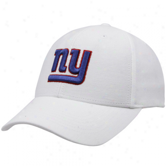 N Y Giant Gear: Reebok N Y Giant White Brushed Cotton Adjustable Hat