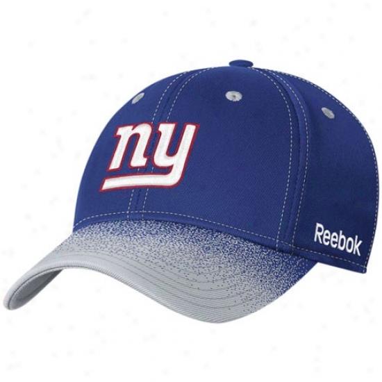 N Y Giant Hat : Reebok N Y Giant Youth Royal Blue Fadeout Sideline 2nd Season Player Flex Fit Hat