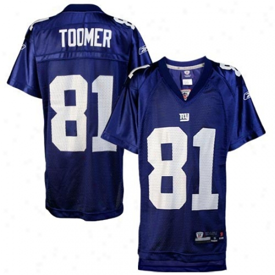 N Y Giant Jersey : Reebok Nfl Equipment N Y Giant #81 Amani Toomer Youth Royal Blue Replica Jersey