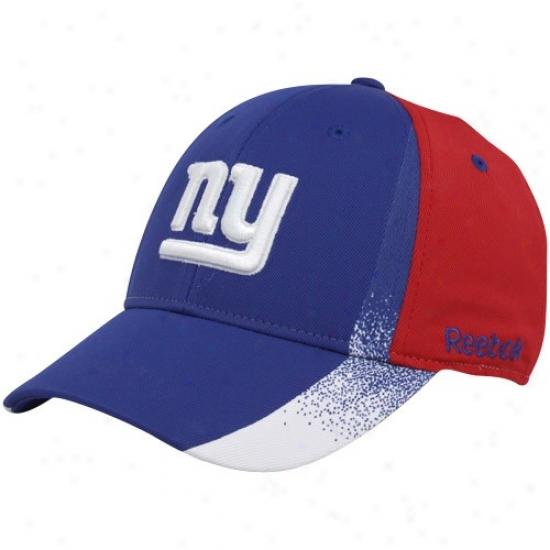 N Y Giant Merchandise: Reebok N Y Giant Royal Blue-red Spray Paint Structured Flex Fit