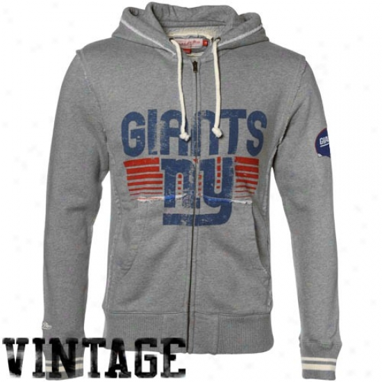 N Y Giant Sweat Shirt : Mitchell & Ness N Y Giant Ash Bars Distressed Premium Full Zip Sweat Shirt