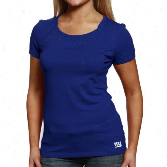 N Y Giant T-shirt : Cutter & Buck N Y Giant Ladies Royal Blue End Zone Premium T-shirt