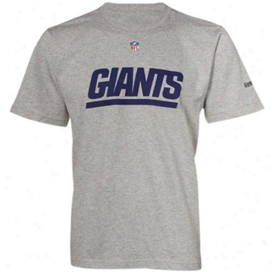 N Y Giant T-shirt : Reebok N Y Giant Ash Sideline Authentic T-shirt