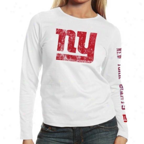 N Y Giant T Shirt : Reebok N Y Giant Ladies White Monster Logo Too oLng Sleeve T Shirt