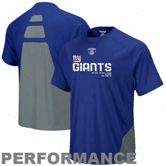 N Y Giant T-shirt : Reebok N Y Giant Royal Blue Conflict Sideline Performance T-shirt