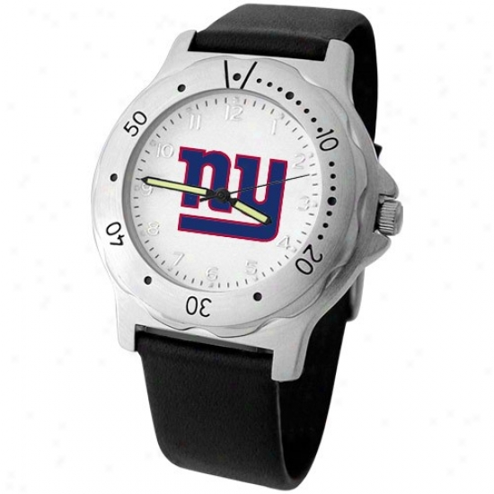 N Y Giant Watches : N Y Giant Men's Black Leather Team Player Watches