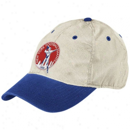 N Y Giants Caps : Reebok N Y Giants Natural Garment Washed Throwback Logo Relaxed Adjustable Caps