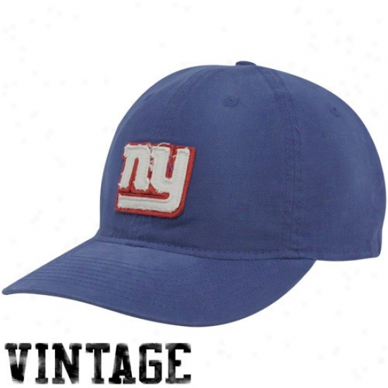 N Y Giants Hat : Reebokk N Y Giants Kingly Blue Distessed Logo Slouch Flex Fit Hat