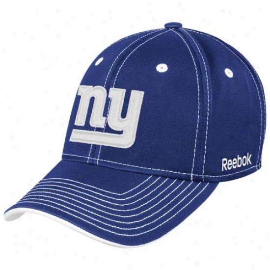 N Y Giants Hat : Reebok N Y Giants Royal Azure Plough Flex Fit Hat