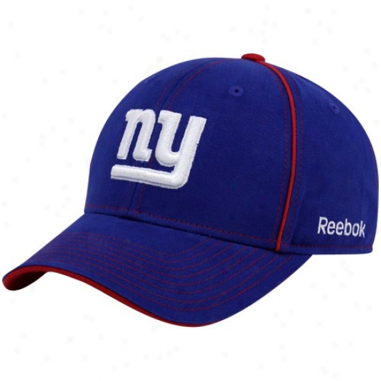 N Y Giants aHt : Reebok N Y Giants Royal Blue Structured Adjustable Hat
