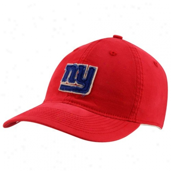 N Y Giants Hats : Reebok N Y Giants Red Distressed Logo Slouch Flex Fit Hats