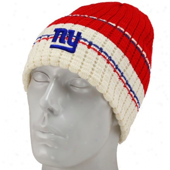 N Y Giants Hats : Reebok N Y Giants Red Team Stripe Knit Beanie