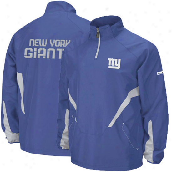 N Y Giants Jackets : Reebok N Y Giants Royal Livid Hot Sideline 1/4 Zip Pullover Wind Jackets