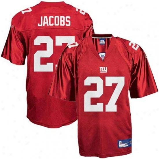 N Y Giants Jersey : Reebok Nfl Equipment N Y Giants #27 Brandon Jacobs Youth Red Replica Football Jersey