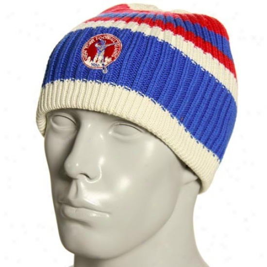 N Y Giants Merchandise: Reebok N Y Giants Natural Team Color Sgriped Knit Beanie