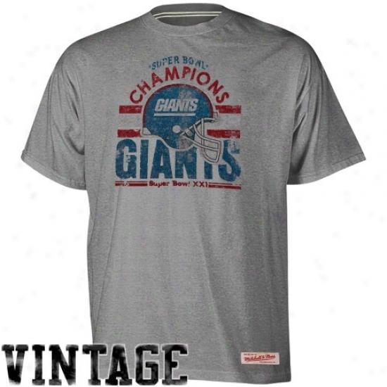 N Y Giants T-shirt : Mitchell & Ness N Y Giants Ash Super Bowl Xxi Champions Vintage Premium T-shirt