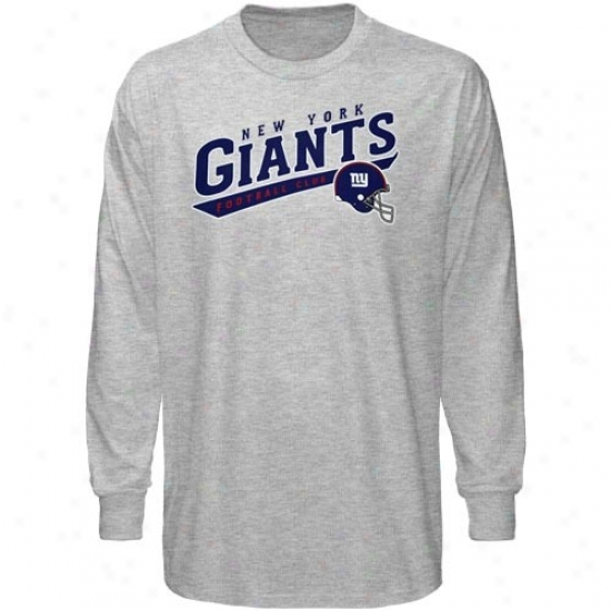 N Y Giants T-shirt : Reebok N Y Giwnts Ash The Call Is Tails Long Sleeve T-shirt