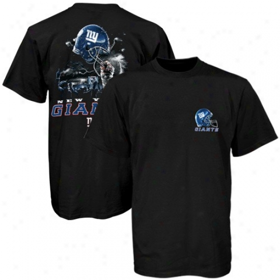 N Y Giants Tshirt : N Y Giants Black Helmet To Sky Graphic Tshirt