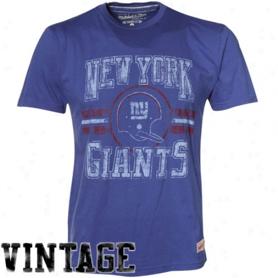 N Y Giants Tshirts : Mitchell & Ness N Y Giants Imperial Blue Circle Bar Vintage Premium Tshirts