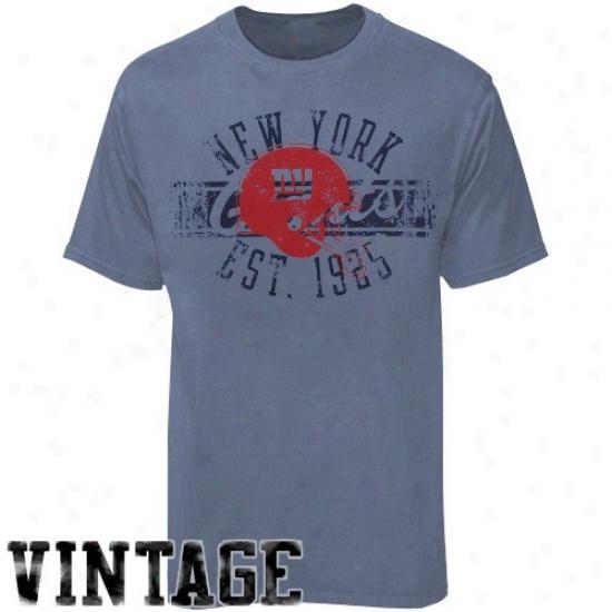 N Y Giants Tshirts : Reebok N Y Giants Heather Blue Flank Formation Vintage Tshirts