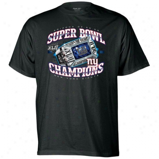 N Y Giants Tshirts : Reebok N Y Giants Youth Black Super Bowl Xlii Champions Southwest Ring Tshirts