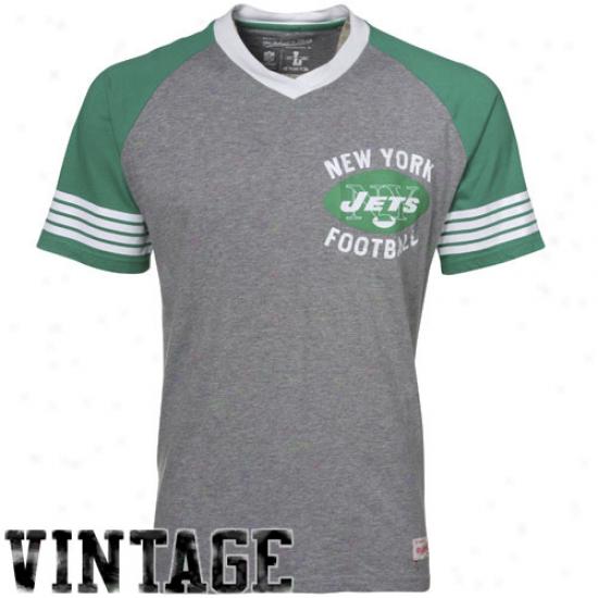 N Y Jet Apparel: Mitchell & Ness N Y Jet Gray 1960 Vintage V-neck Raglan Premium T-shirt