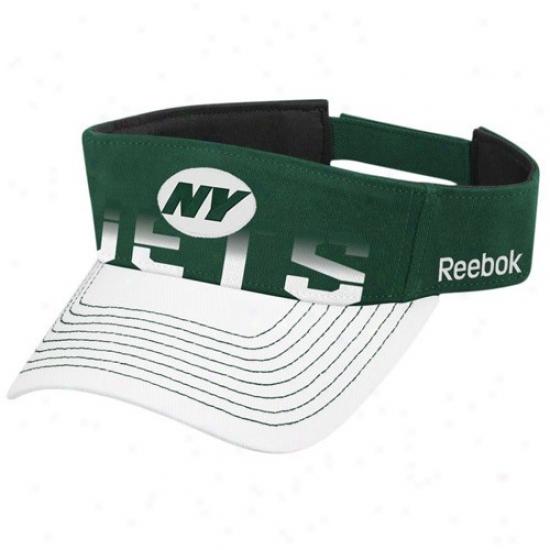 N Y Jet Cap : Reebok N Y Jet Green-white Players Visor