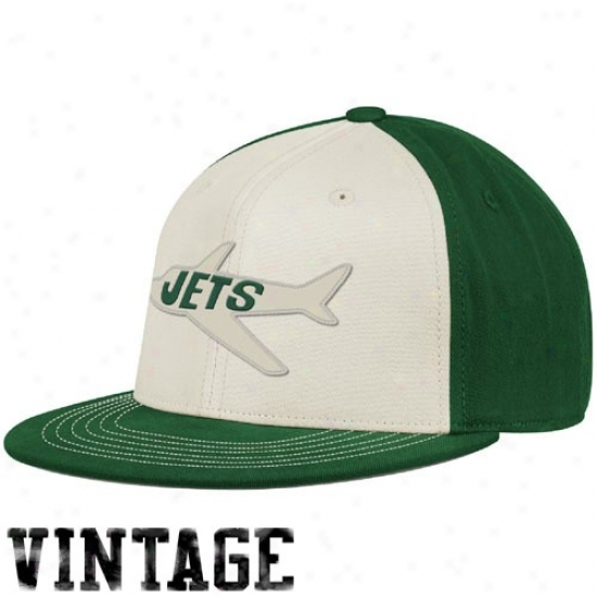 N Y Jet Array: Reebok N Y Jet White-green Throwback 210 Fitted Hat