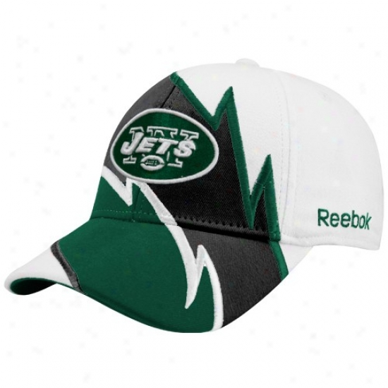 N Y Jet Hat : Reebok N Y Jet White Electric Flex Fit Hat