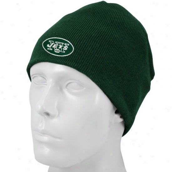 N Y Je5 Hat : Reebok N Y Jet Youth Green Basic Logo Knit Beanie