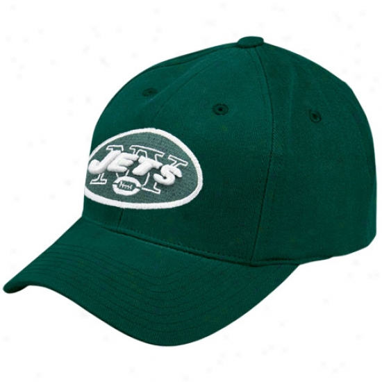 N Y Jet Hats : Reebok N Y Jet Green Basic Logo Brushed Cotton Hats