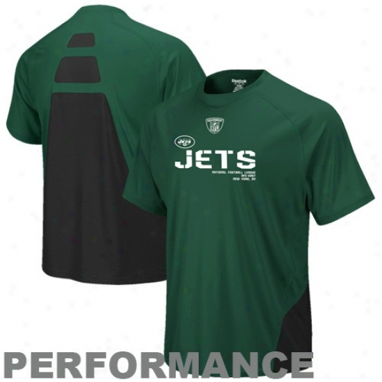 N Y Jet hSirts : Reebok N Y Jet Green Conflict Sideline Performance Shirts