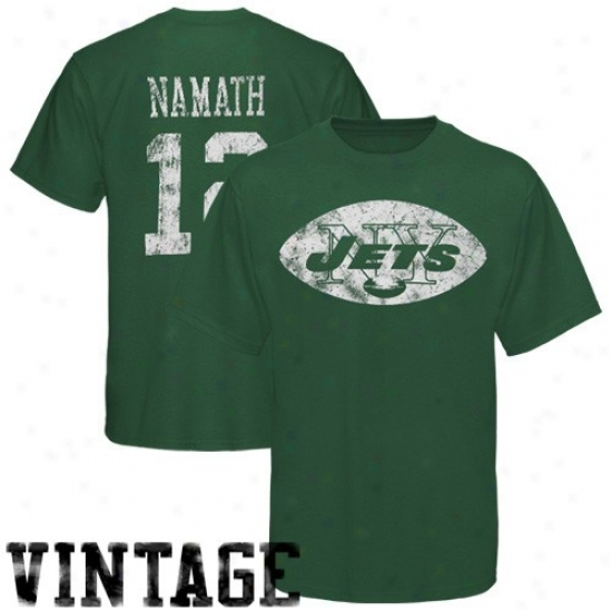 N Y Jet T Shirt : Reebok N Y Jet #12 Joe Namath Green Retired Legends Vintage T Shirt