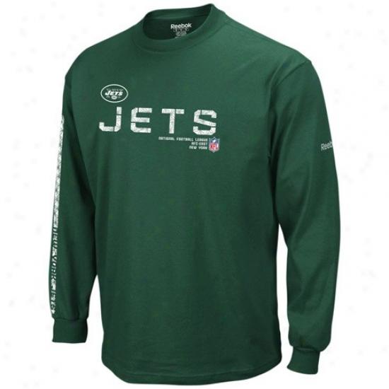 N Y Jet Tshirt : Reebok N Y Jet Green Sideline Tacon Long Sleeve Tshirt