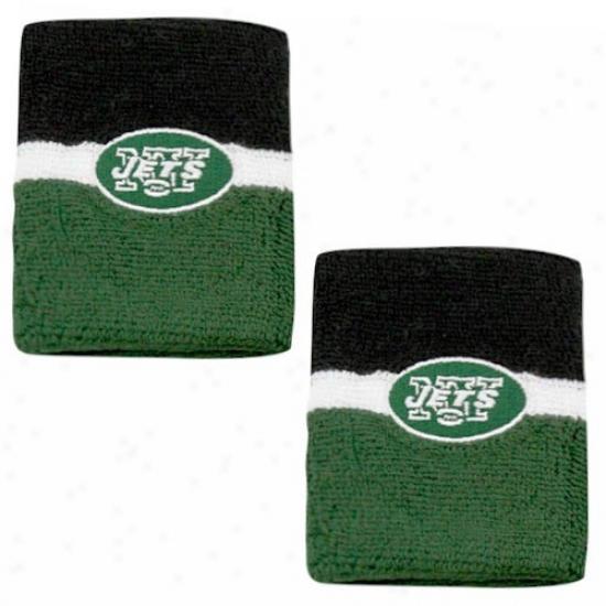 N Y Jets Hat : Reebok N Y Jets Green-black Striped Wristbands