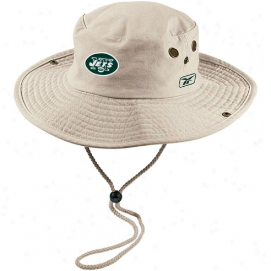 N Y Jets Merchandise: Reebok N Y Jets Khaki Safari Fitted Hat