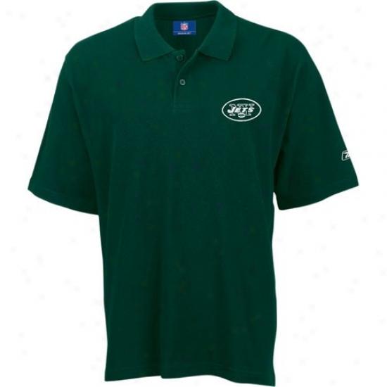 N Y Jets Polos : Reebok N Y Jets Green Team Logo Pique Polos