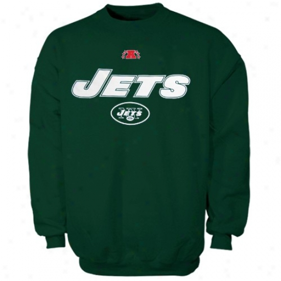N Y Jets Sweatshkrt : N Y Jets Green Critical Conquest Iii Crew Sweatshirt