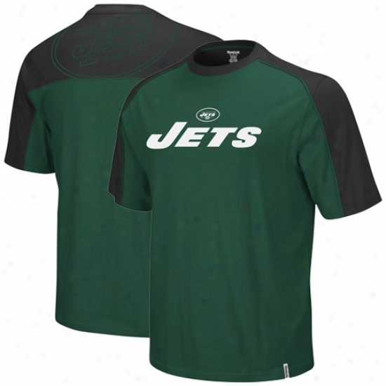 N Y Jets T-shirt : Reebok N Y Jets Green-black Draft Pick T-shirt