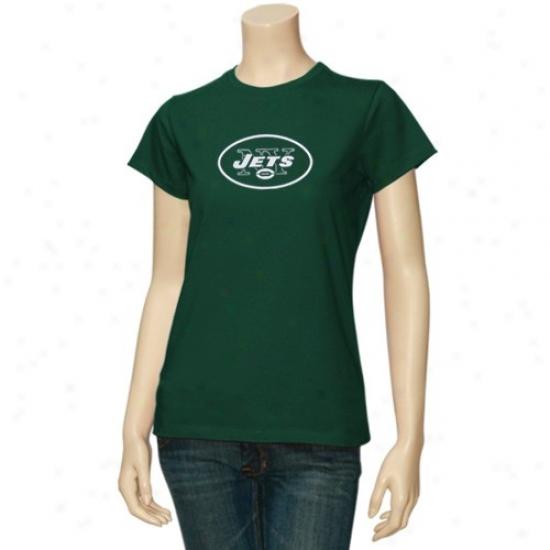 N Y Jets Tee : Reebok N Y Jets Ladies Green Logo Premier Tee