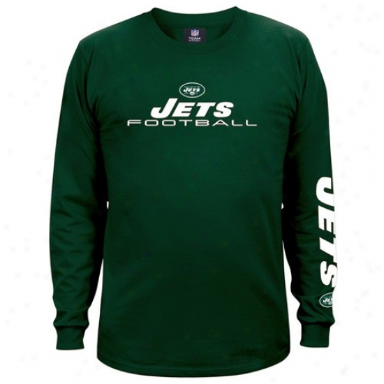 N Y Jets Tees : N Y Jets Green Team Shine Long Sleeve Tees