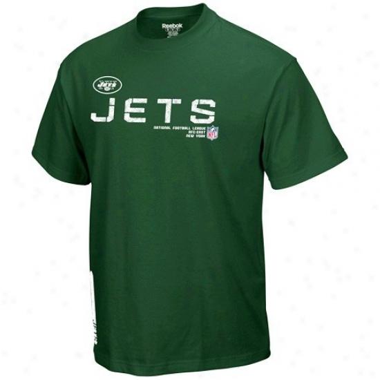 N Y Jets Tshirts : Reebok N Y Jets Youth Green Sideline Tacon Tshirts