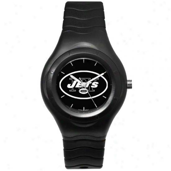 N Y Jets Watch : N Y Jets Black Shelter Team Logo Sport Watch