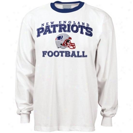 Ne wEngland Patriot Apparel: Reebok New England Patriot White Stacked Helmet Long Sleeve Ringer T-shirt