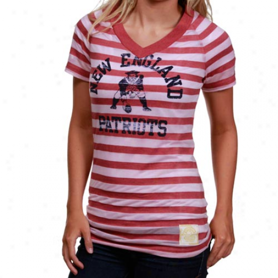 New England Patriot Attire: Reebok New England Patriot Ladies Red Retro Burnout Stripe T-shirt